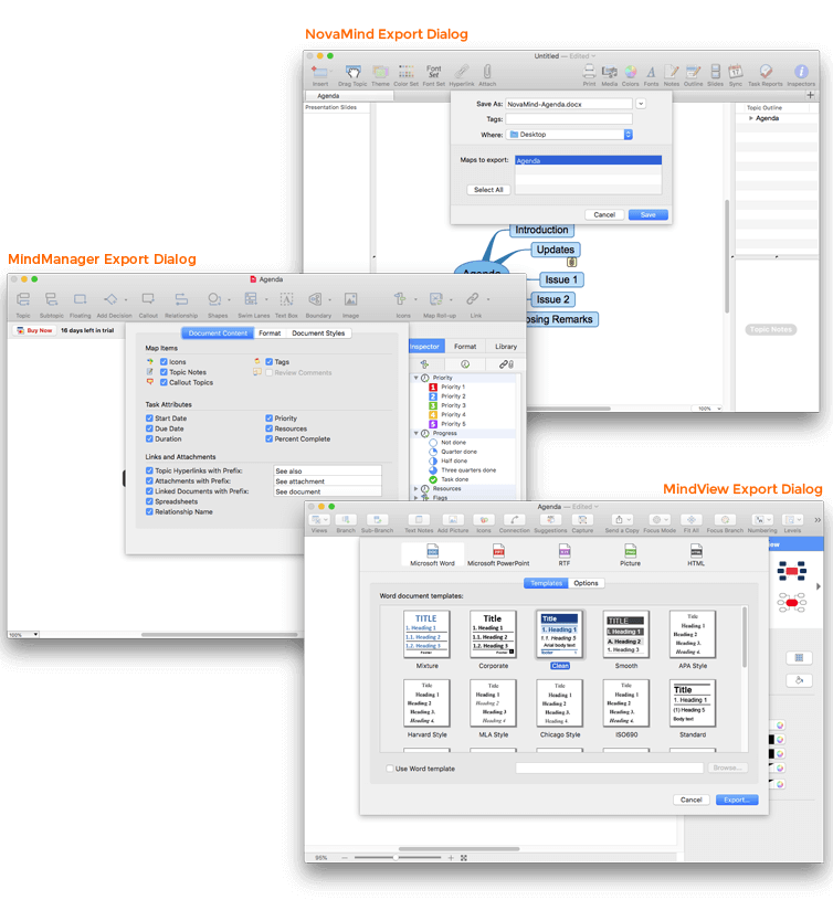 Mind Mapping Software Export Dialog